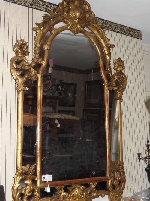c18th french regence period 'parcloses' giltwood mirror