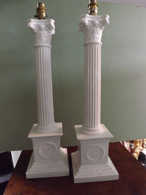 pair early c20th italian glazed pottery corinthian column table lamp bases