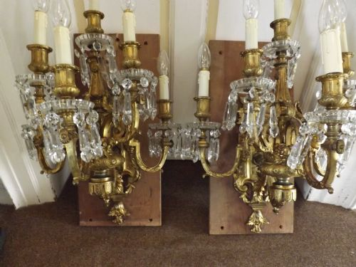 pair late c19th ormolu and cutglass walllights sconces