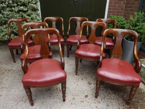 set of 8 c19th victorian period mahogany athenian design armchairs