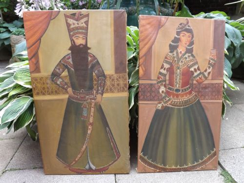 pair late c19th indopersian school oil on canvas portraits
