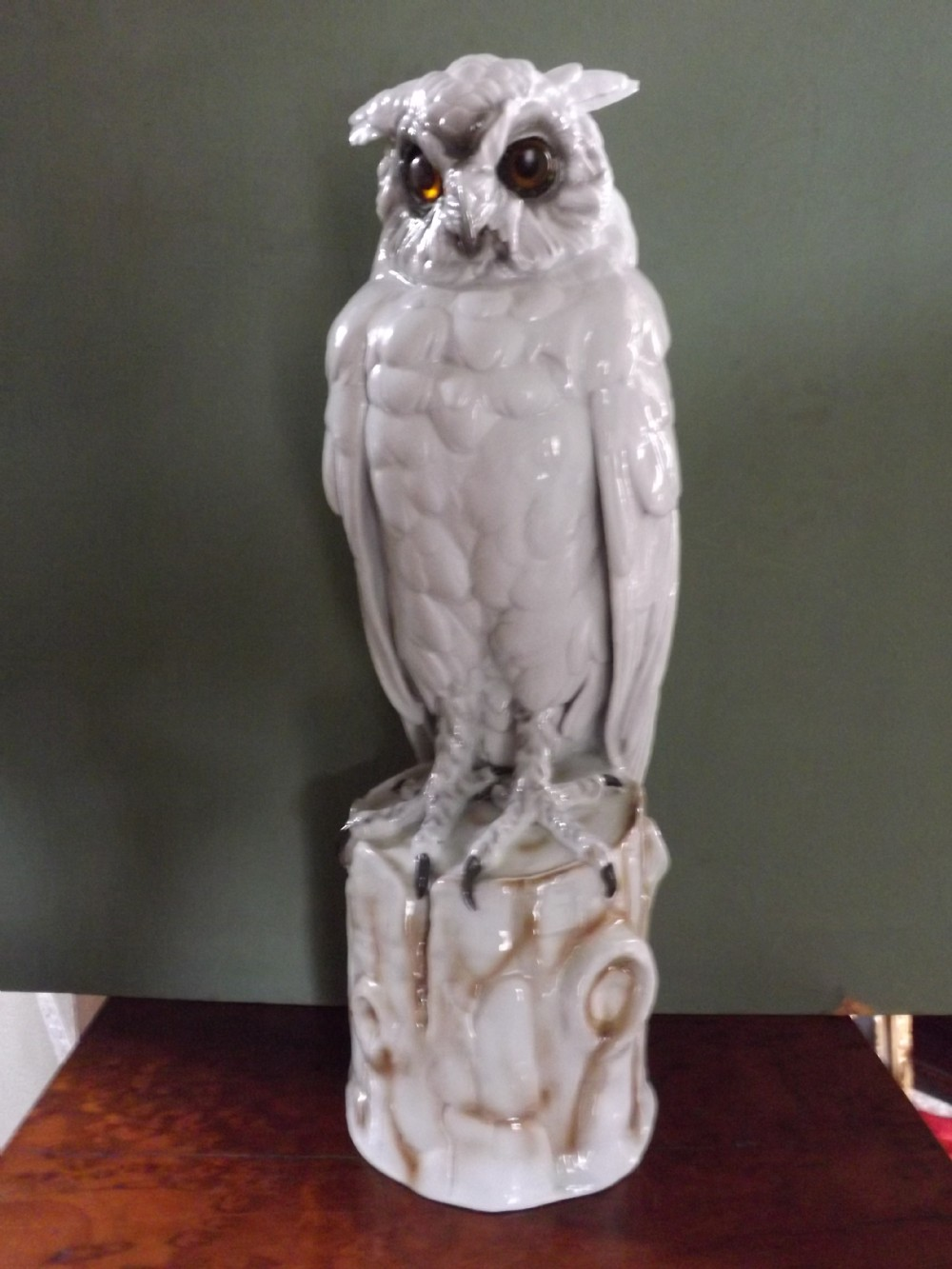 large late c19th early c20th italian capodimonte porcelain owl lamp with glass eyes