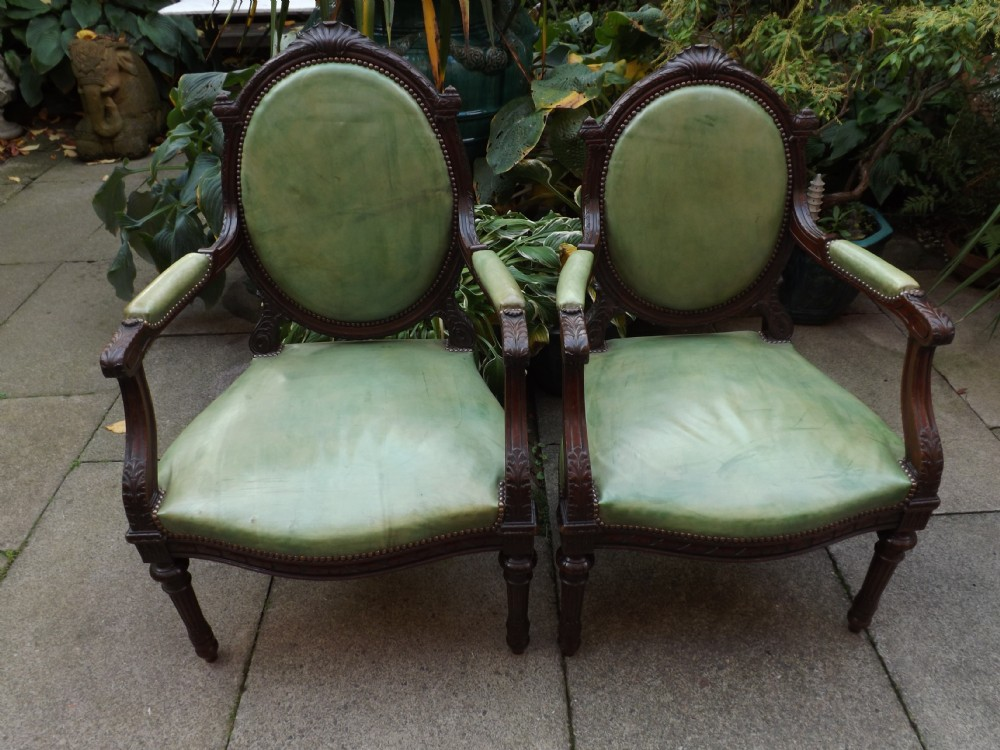 late c19th matched pair of george iii style mahogany library armchairs