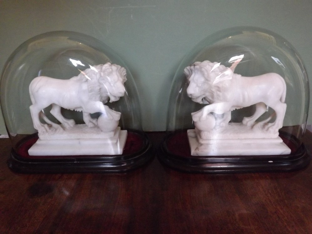 pair of c19th italian carved alabaster 'grand tour' souvenir medici lions
