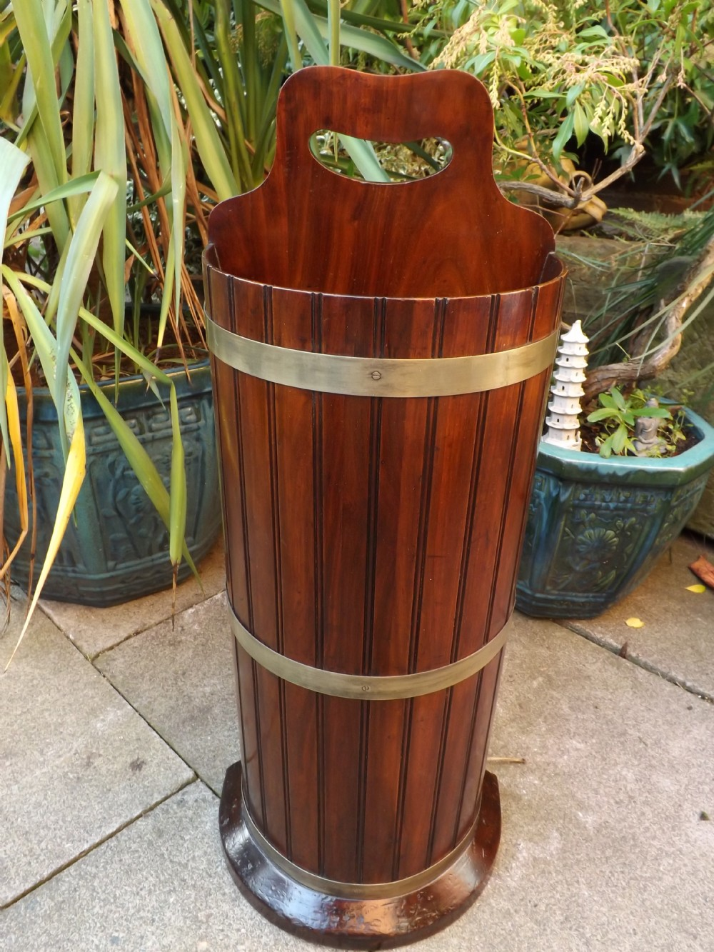 c19th mahogany stickumbrella stand with brass bands