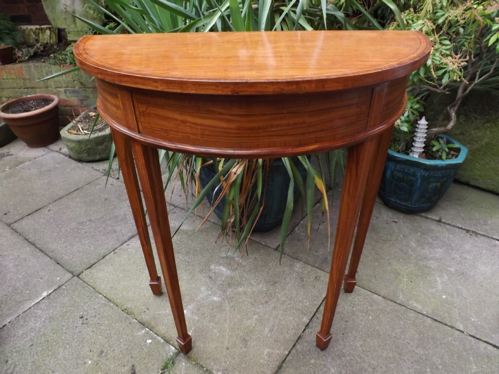 late c19th edwardian period satinwood demilune consolepier table