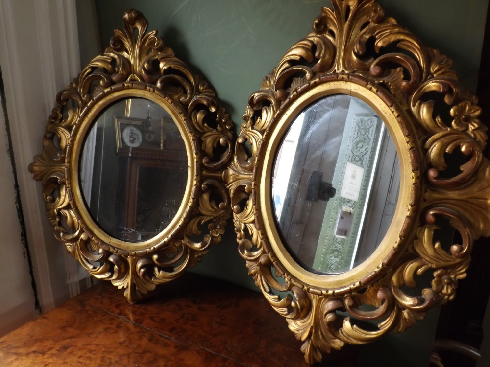 pair late c19th italian carved giltwood 'florentine' framed mirrors