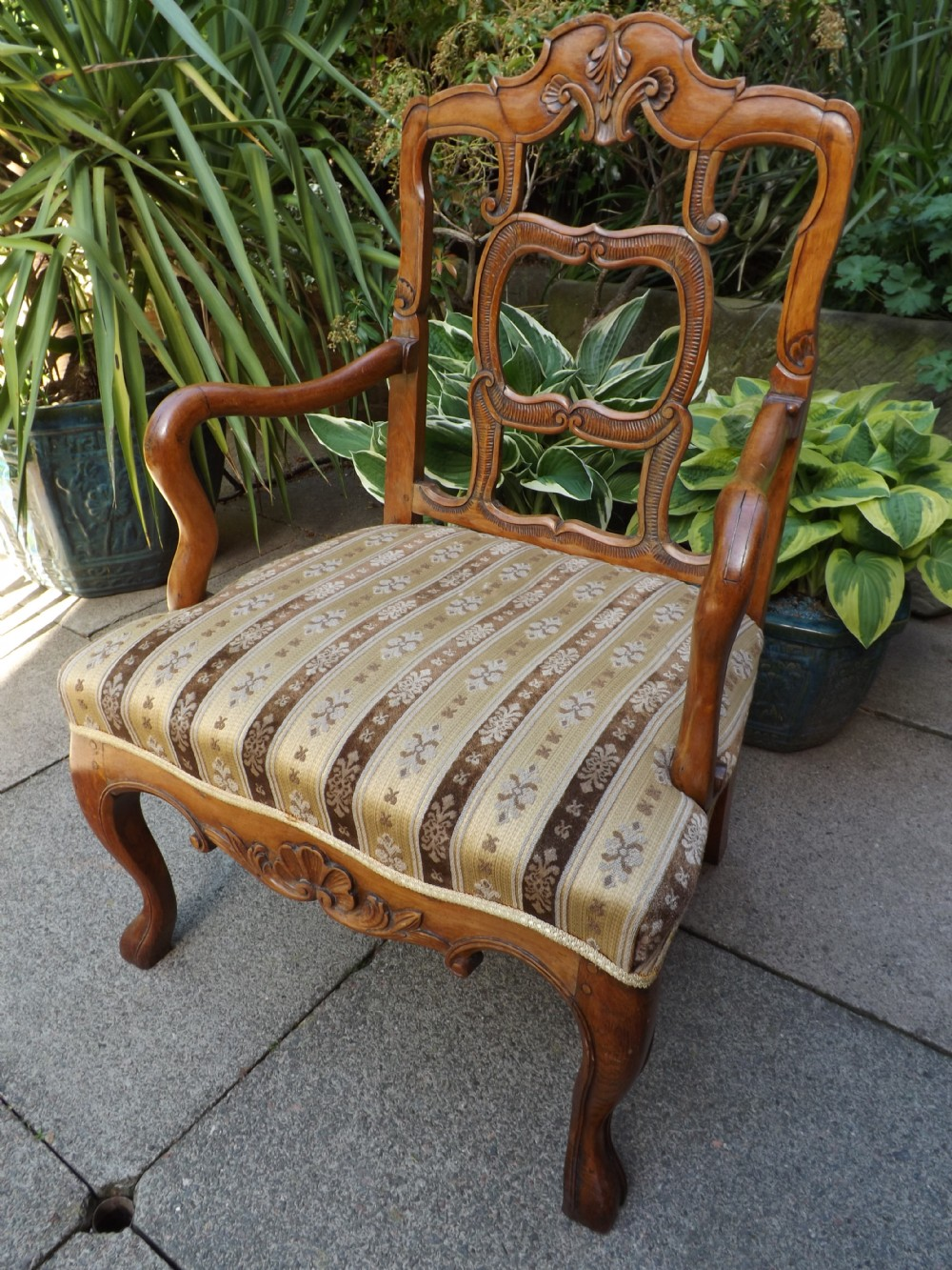 late c19th french provincial fruitwood framed armchairfauteuil