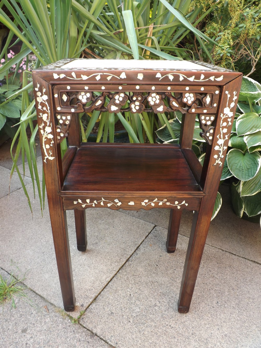 late c19th chinese 'mother o' pearl' inlaid hardwood 2tier stand