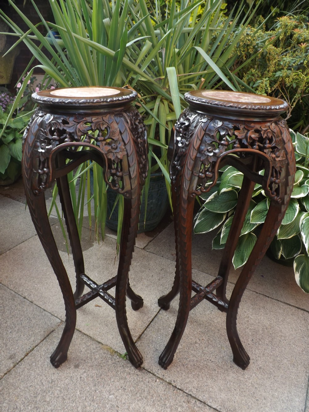 pair of c19th chinese late qing dynasty carved hardwood inset marbletop jardinire or vase stands