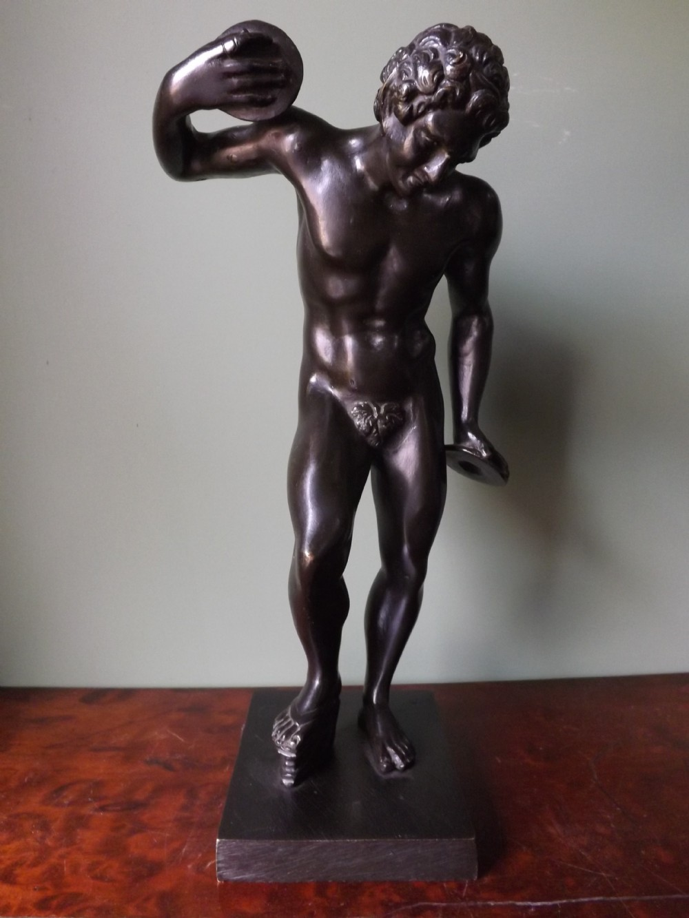 c19th 'grand tour' souvenir bronze figure dancing faun with clappers after the antique