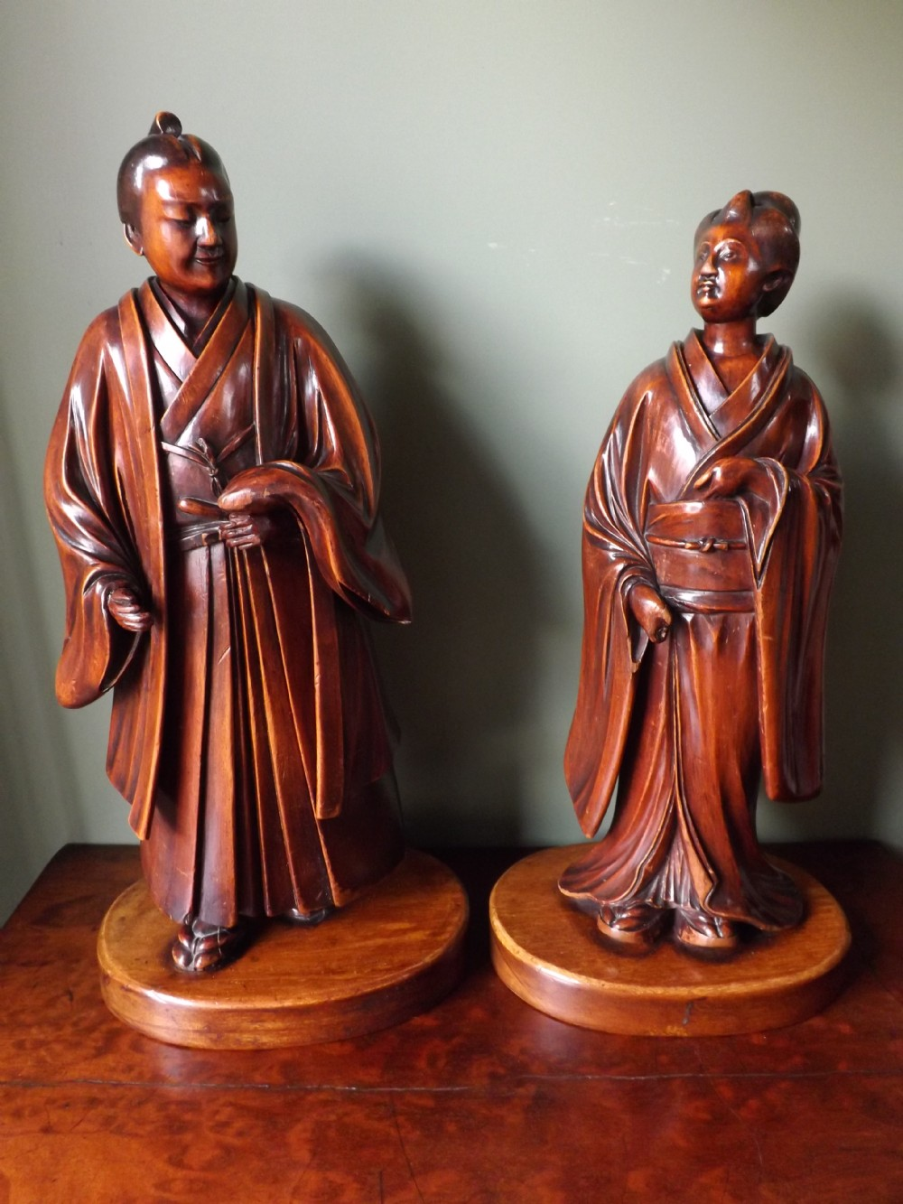 pair of late c19th japanese meiji period 18681912 carved boxwood okimono figures