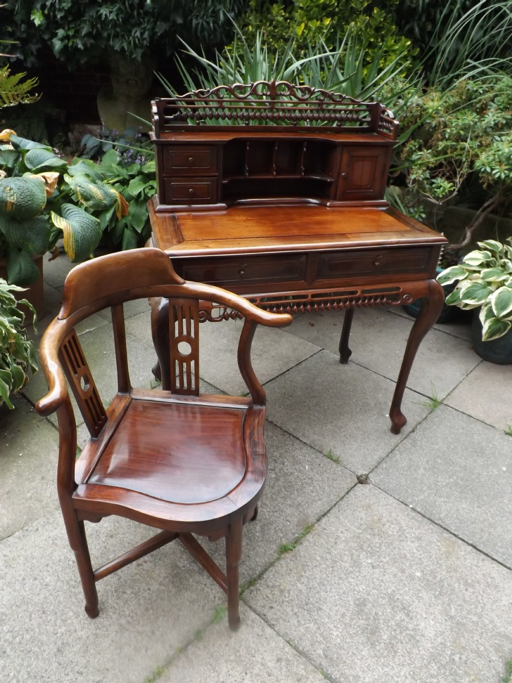late c19th early c20th chinese qing dynasty carved hardwood 'bonheurdujour' writing table and armchair