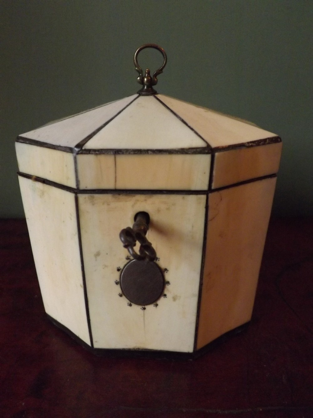 c18th george iii period ivory veneered tea caddy
