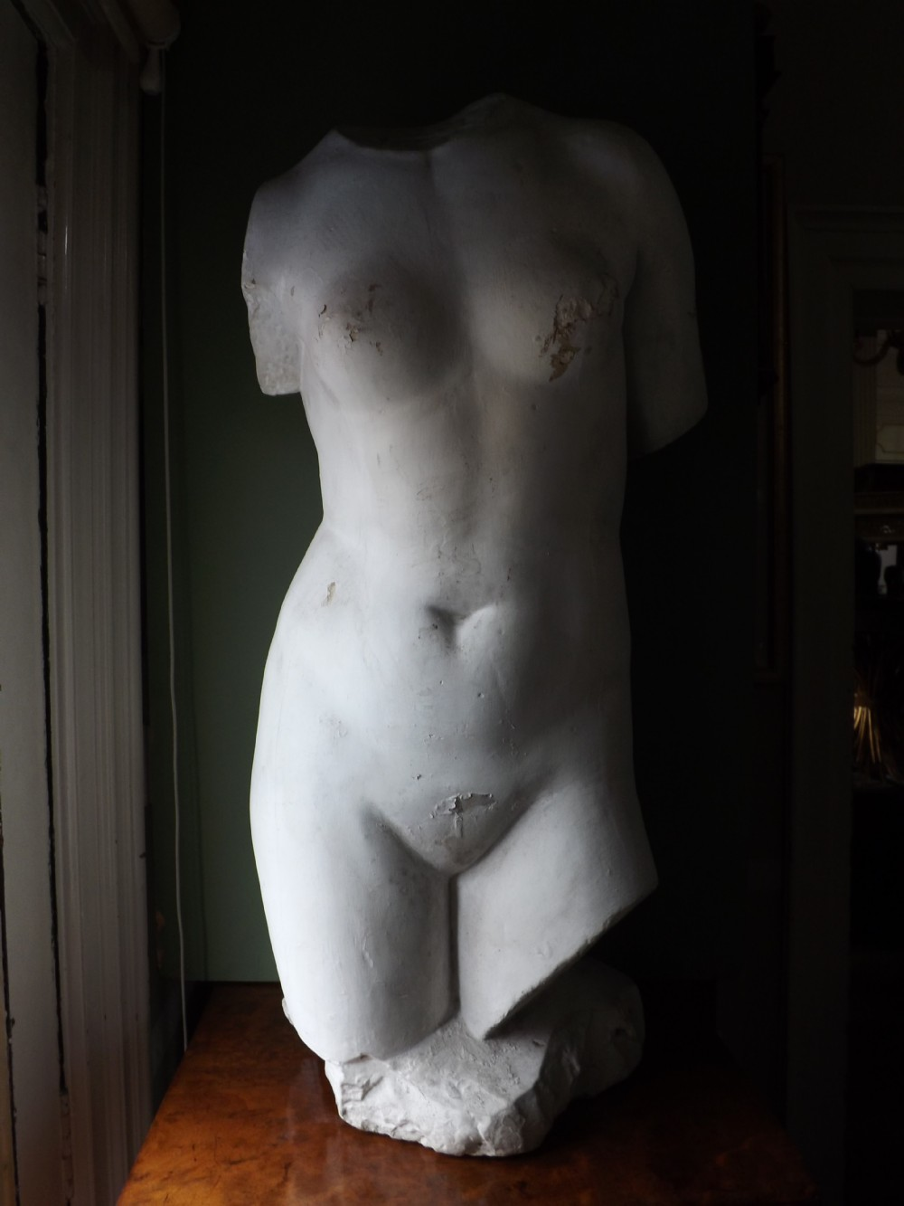 late c19th decorative plaster cast torso of venus or aphrodite