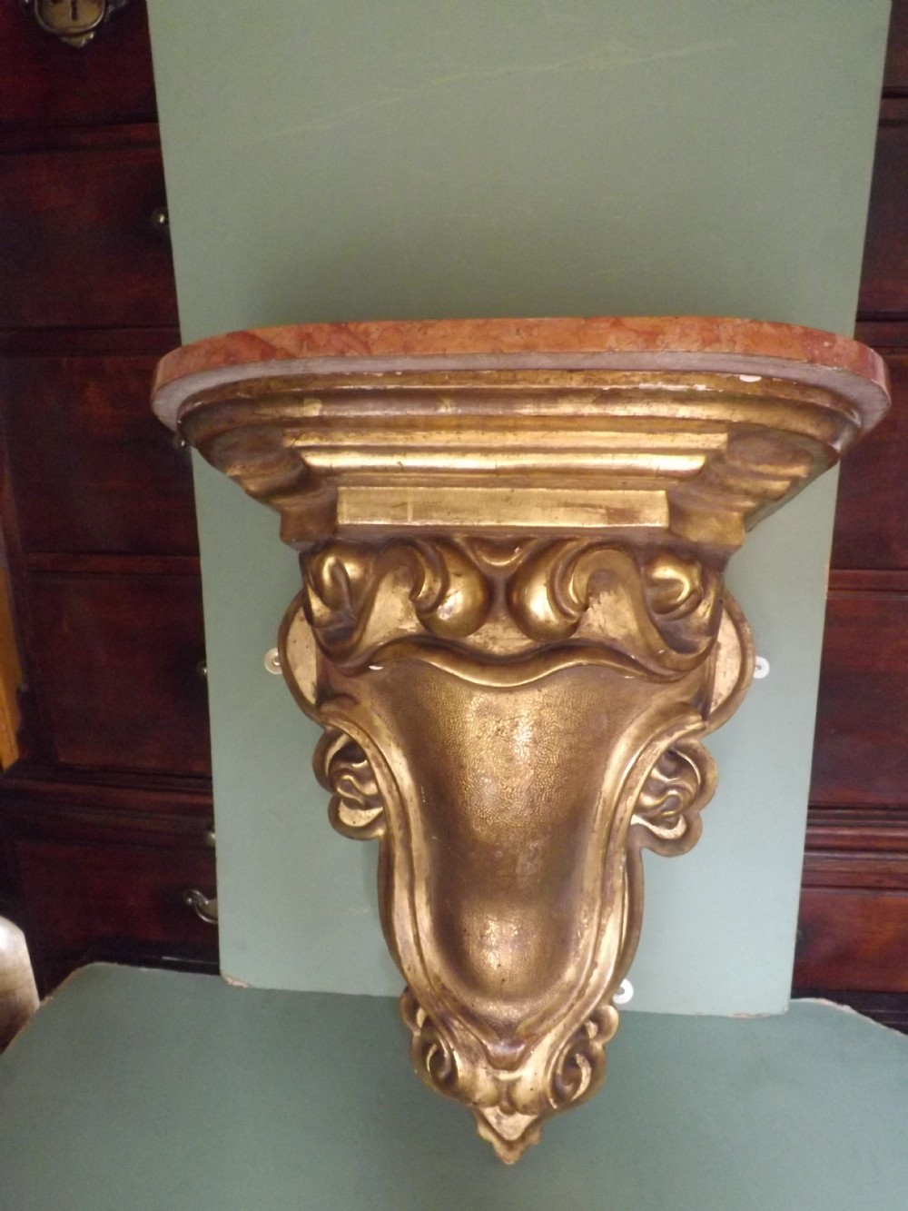 large c19th carved giltwood wallbracketcorbel with loose marble top