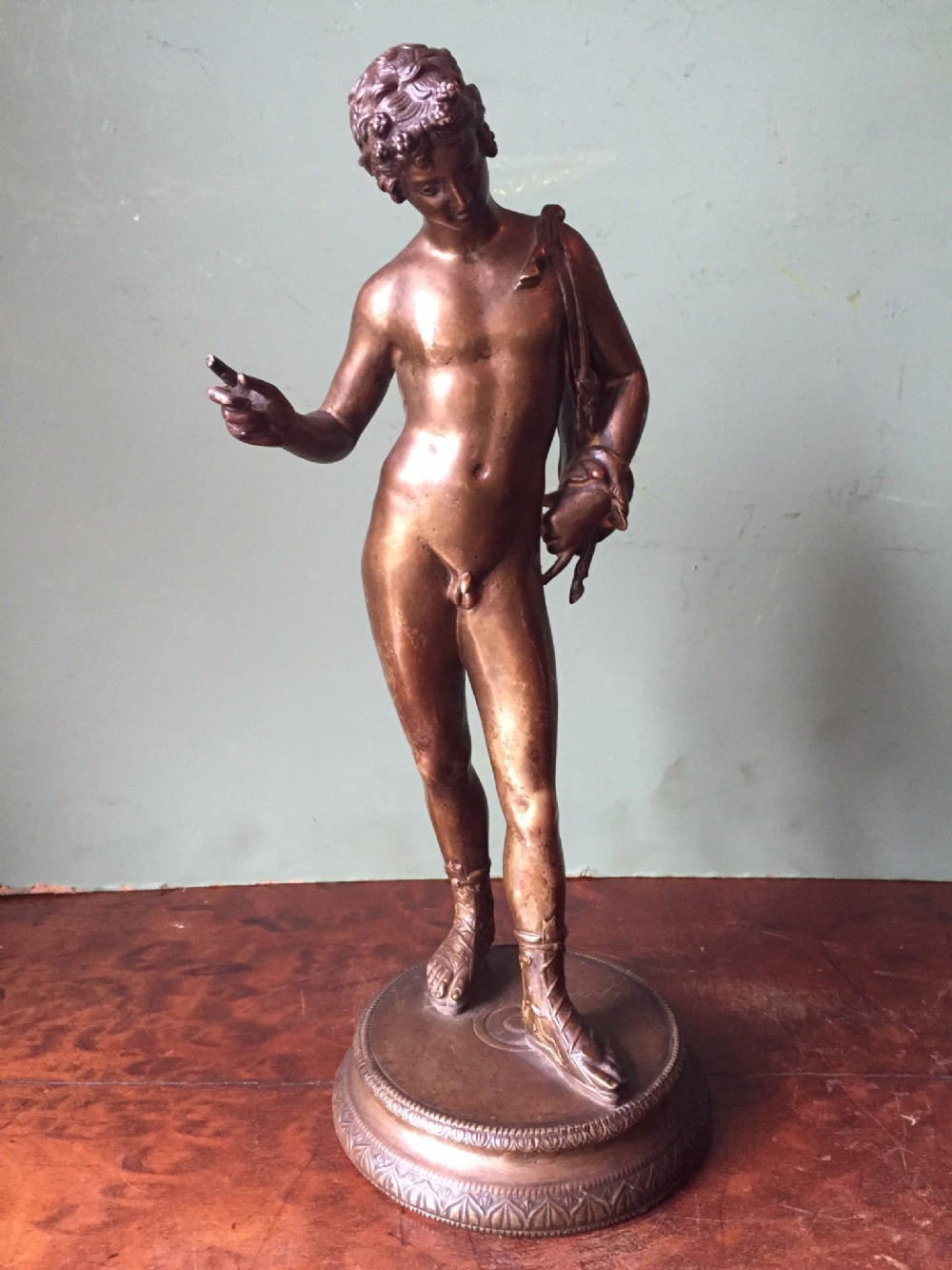c19th 'grand tour' souvenir gilded bronze sculpture after the antiqueof dionysus known as narcissus