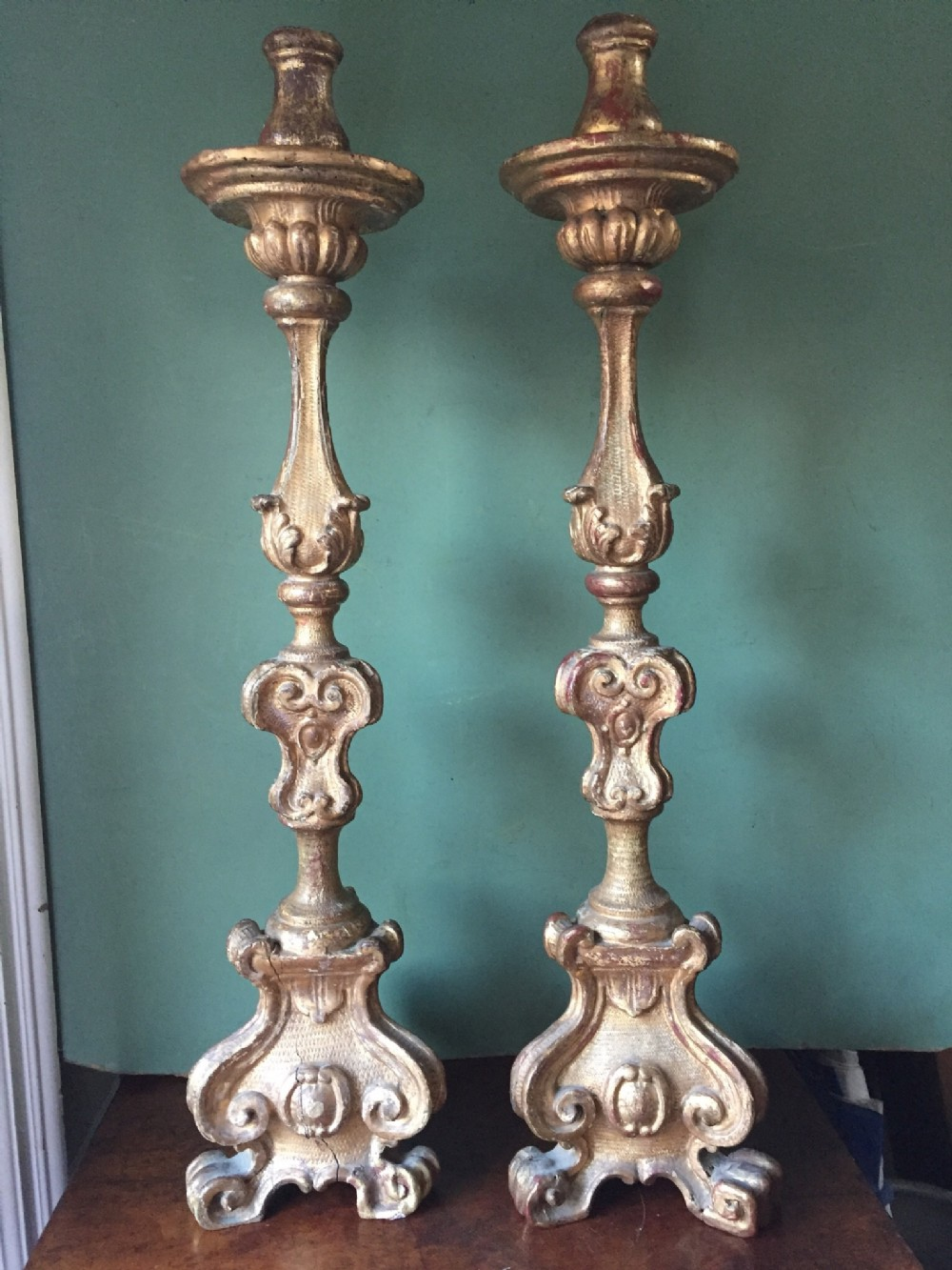 pair of c19th italian carved giltwood candlesticks