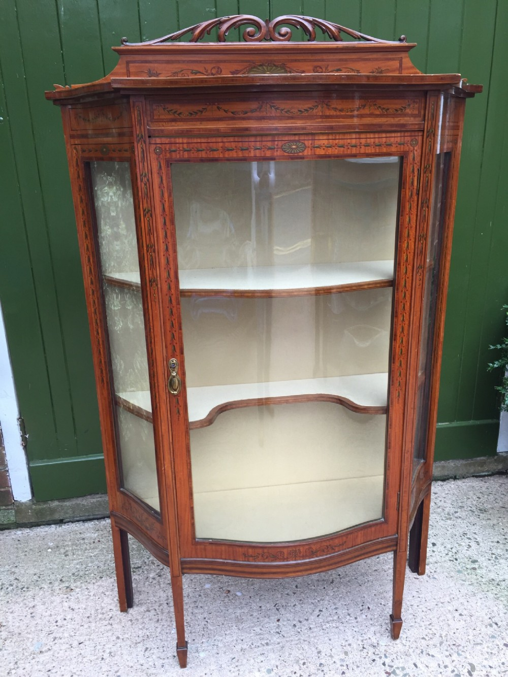 late c19thearly c20th edwardian period decorated satinwood display cabinet or vitrine in the adam revival style