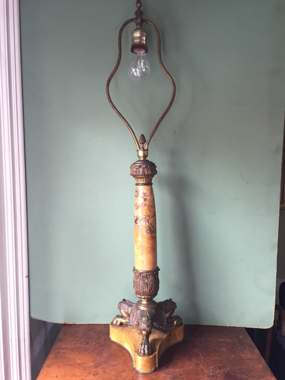 late c19th french siena marble and ormolu bronze lampbase of charles x design