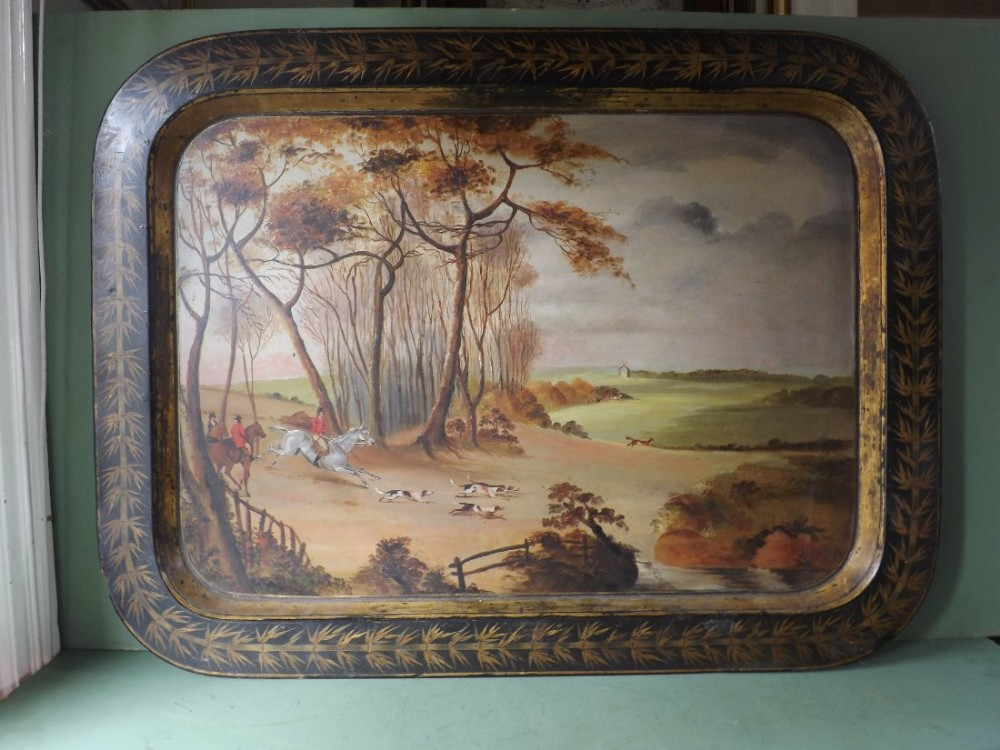 rare early c19th regency period papiermch tray decorated with foxhunting scene