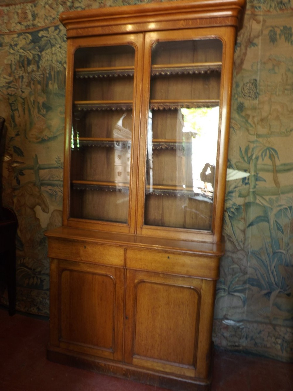 mid c19th victorian period glazed top 2door oak library bookcase