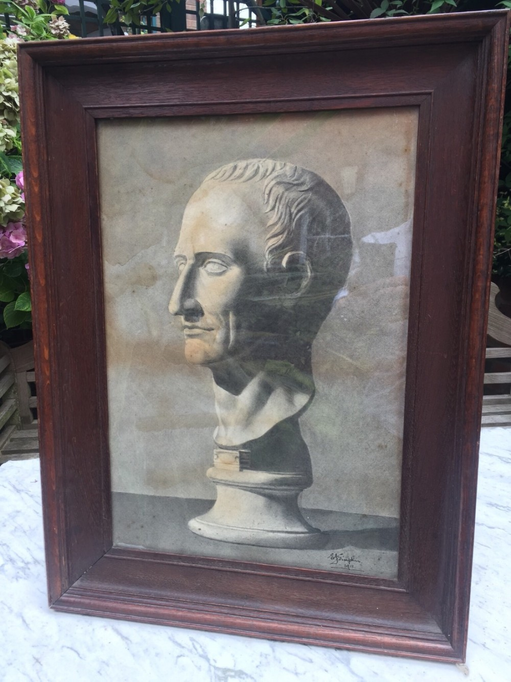 early c20th charcoal and pencil study of a bust of julius caesar in oak frame of 'grand tour' interest