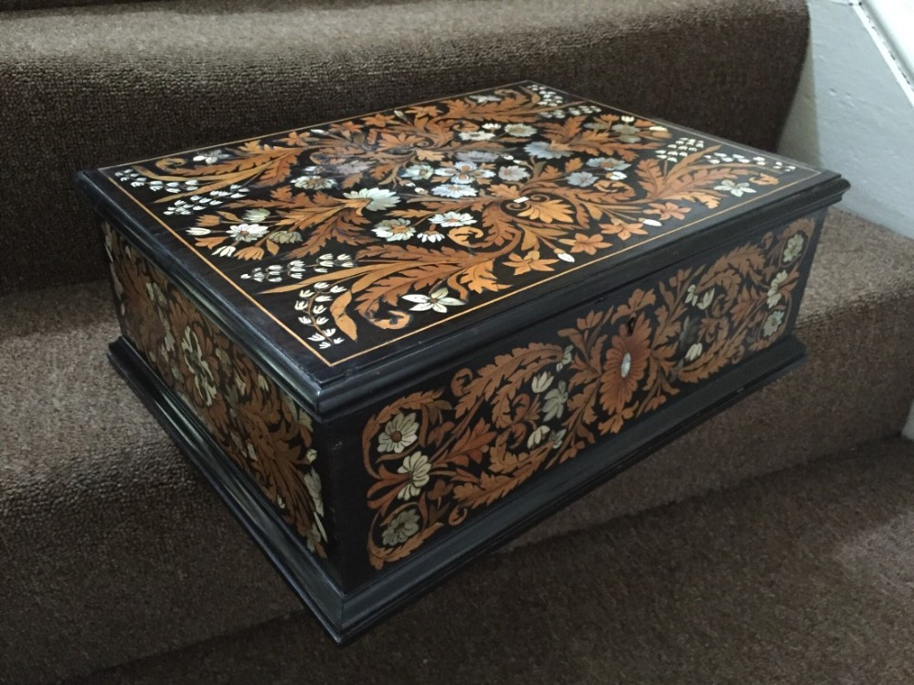 c19th italian ebony casket with fruitwood bone and motherofpearl shall marquetry inlay