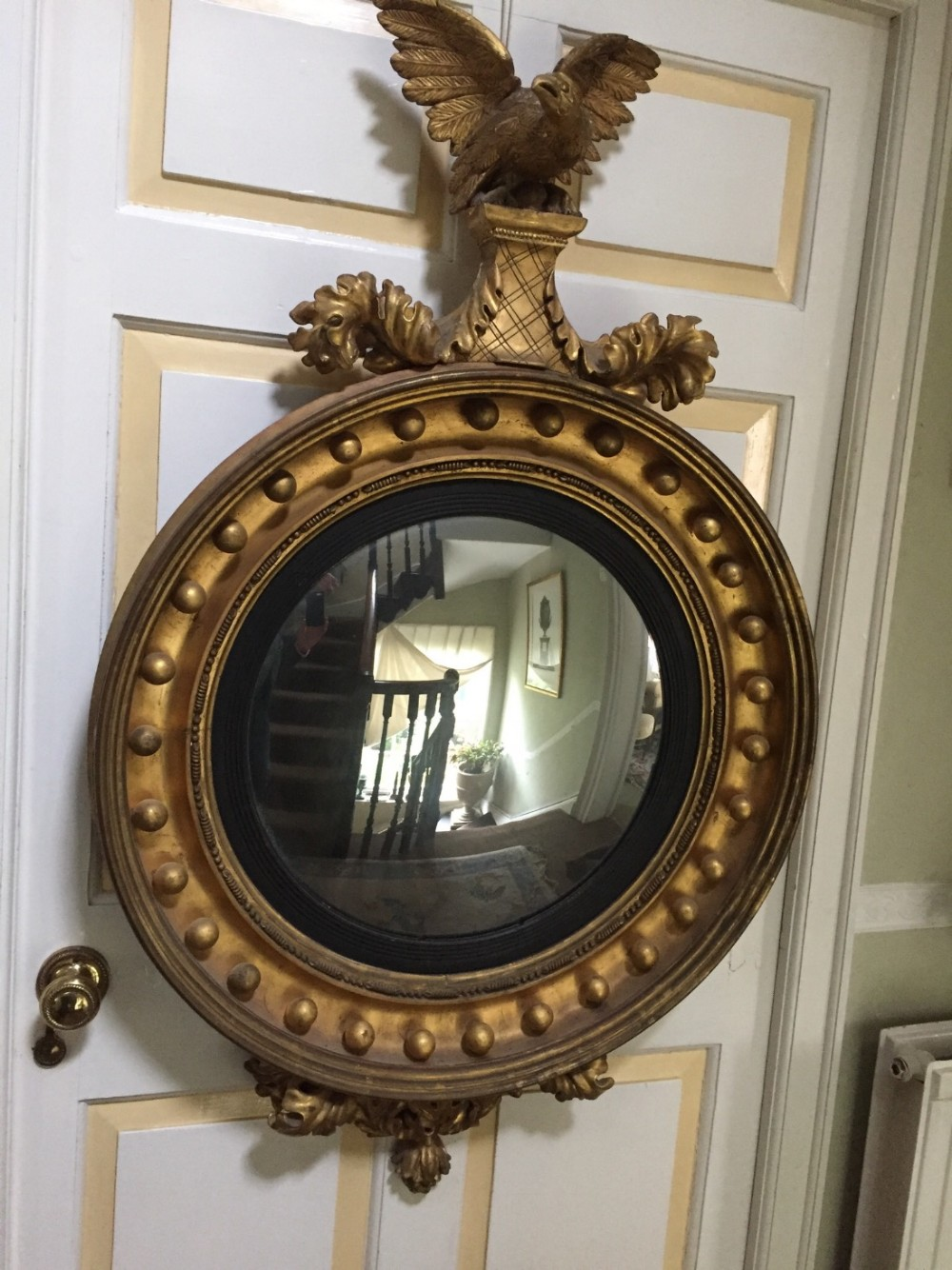 large early c19th regency period carved giltwood framed convex plate mirror