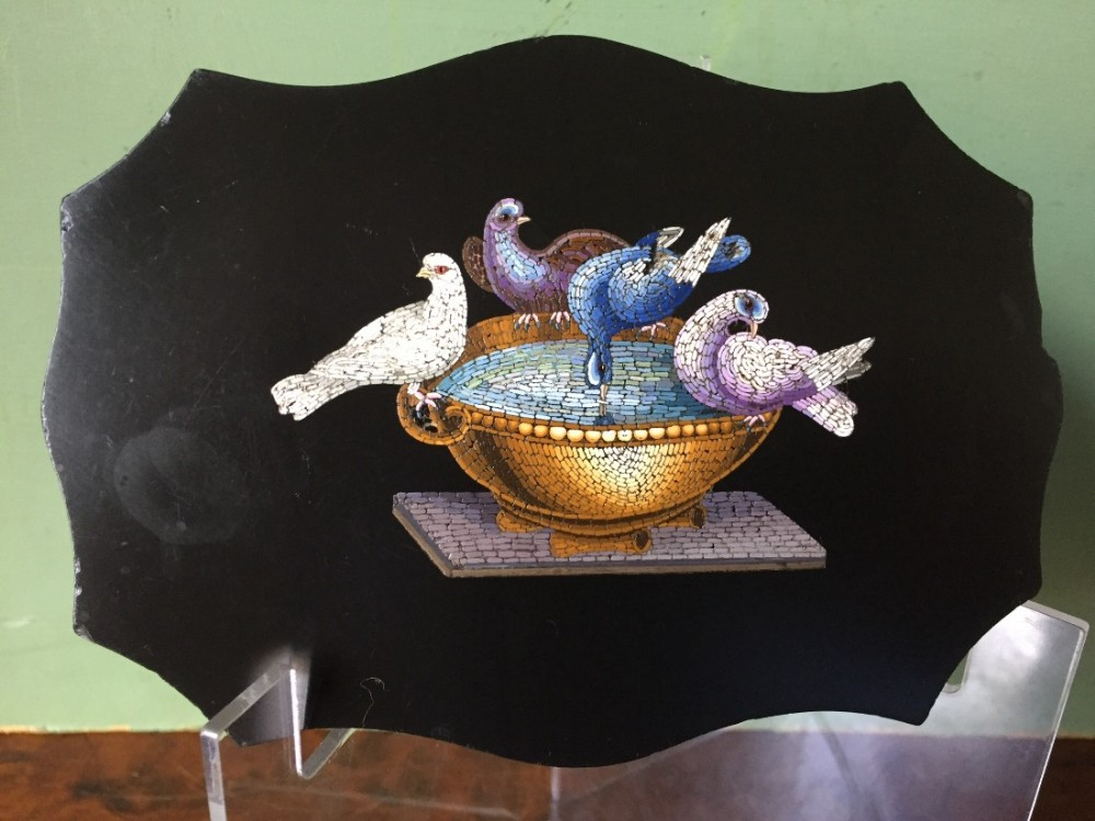 late c19th italian 'grand tour' souvenir marble micromosaic inlaid paperweight the doves of pliny