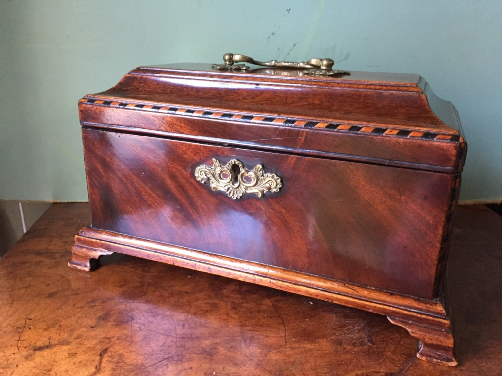 c18th george iii chippendale period mahogany tea chest or caddy