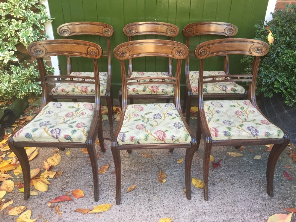 set of 6 early c19th regency mahogany sabreleg dining chairs