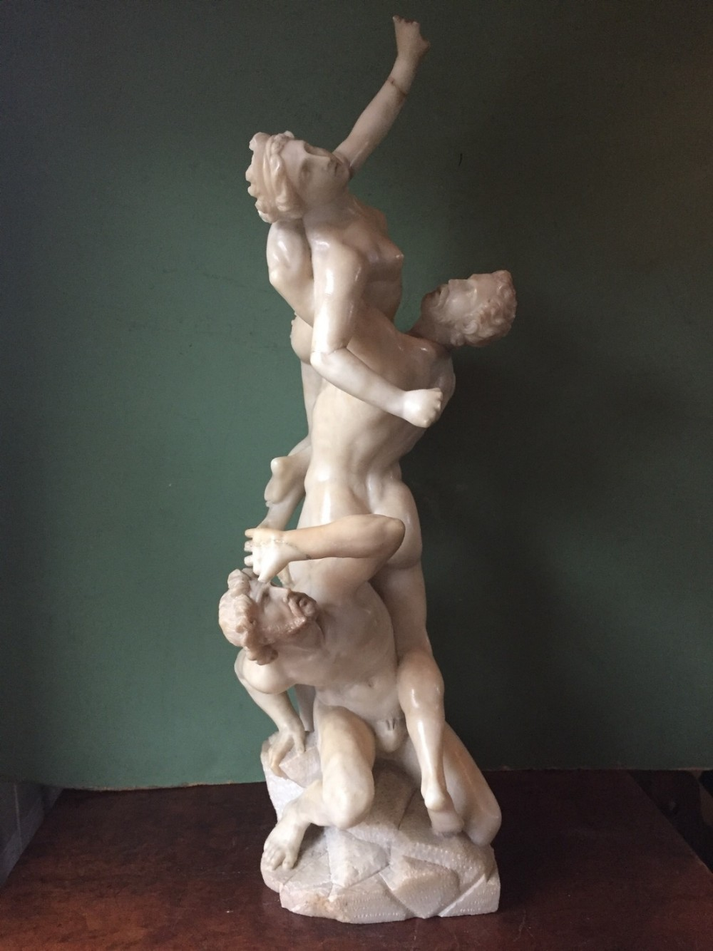 late c19th italian 'grand tour' souvenir carved alabaster sculpture group after giambologna the abduction of the sabine women