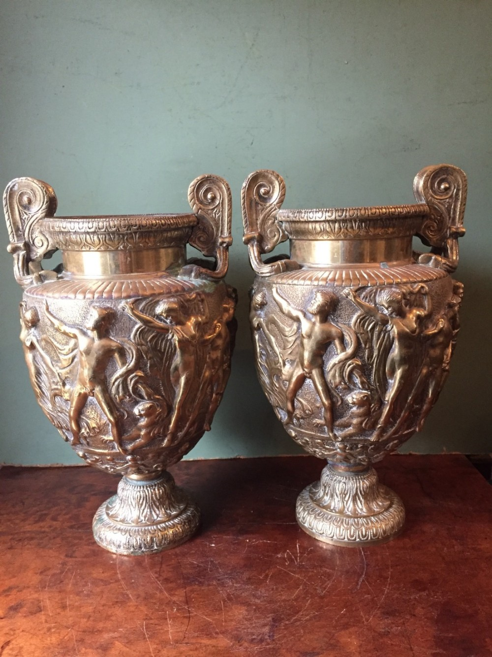 pair of mid c19th gilded brass 'grand tour' souvenir volute krater vases known as the townley vase