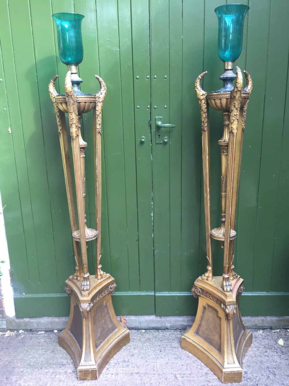 impressive pair of early c20th giltwood floorstanding candlelamps or torcheres in the c18th neoclassical adam style