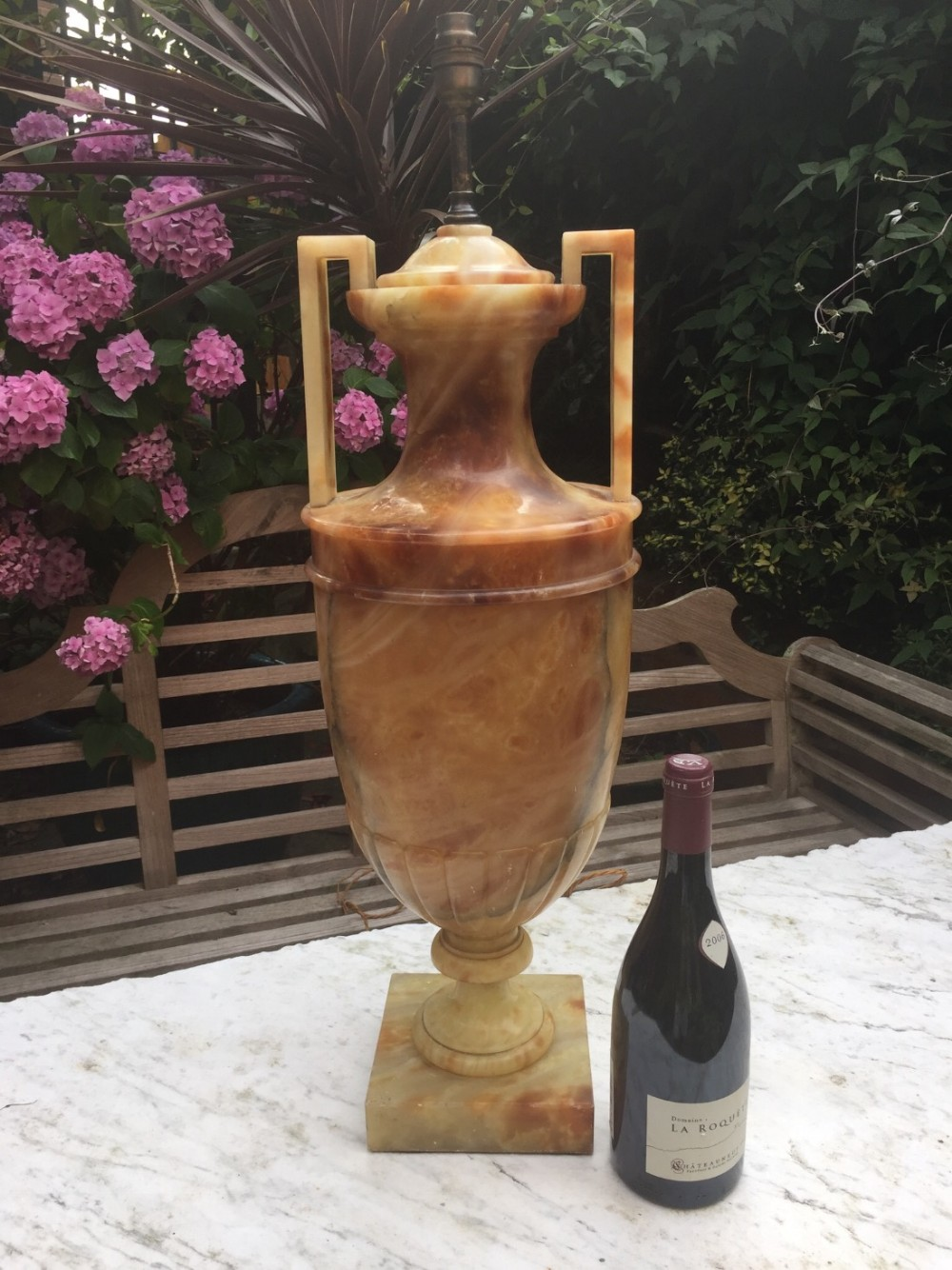 large late c19th italian alabaster lamp of classical form