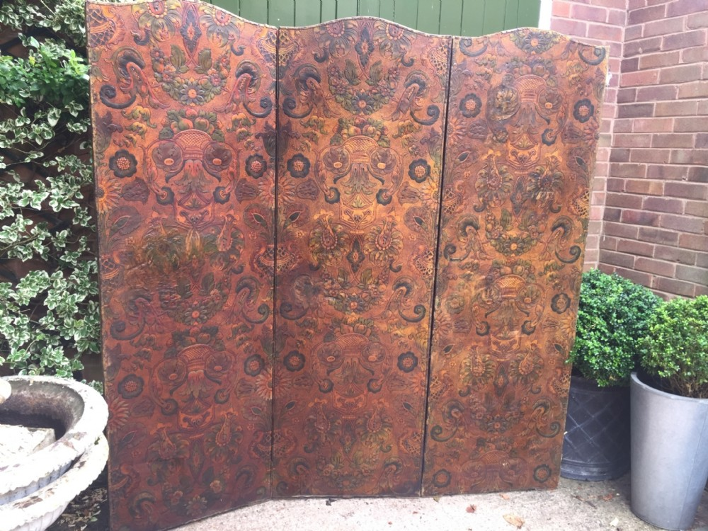 late c19th embossed leather 3fold screen or room divider with arched top