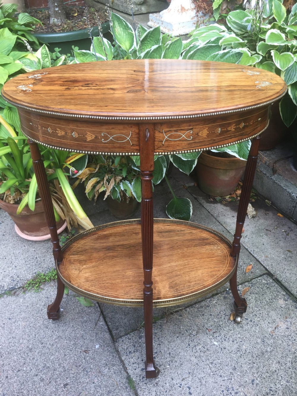 fine quality late c19th oval rosewood bijouterie table with boxwood and ivory inlay by james shoolbred colondon