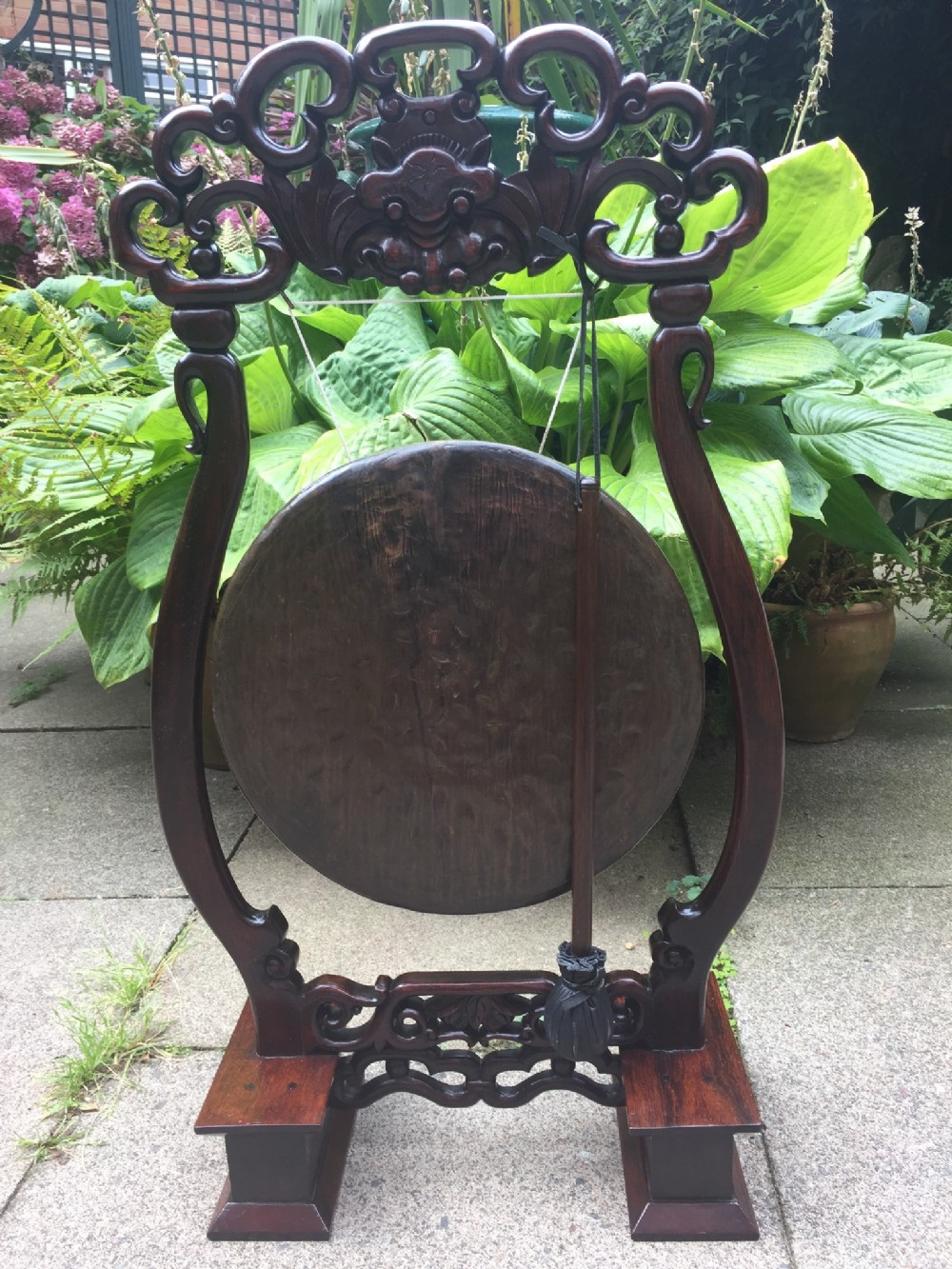 late c19th chinese qing dynasty carved hardwoodframed bronze gong