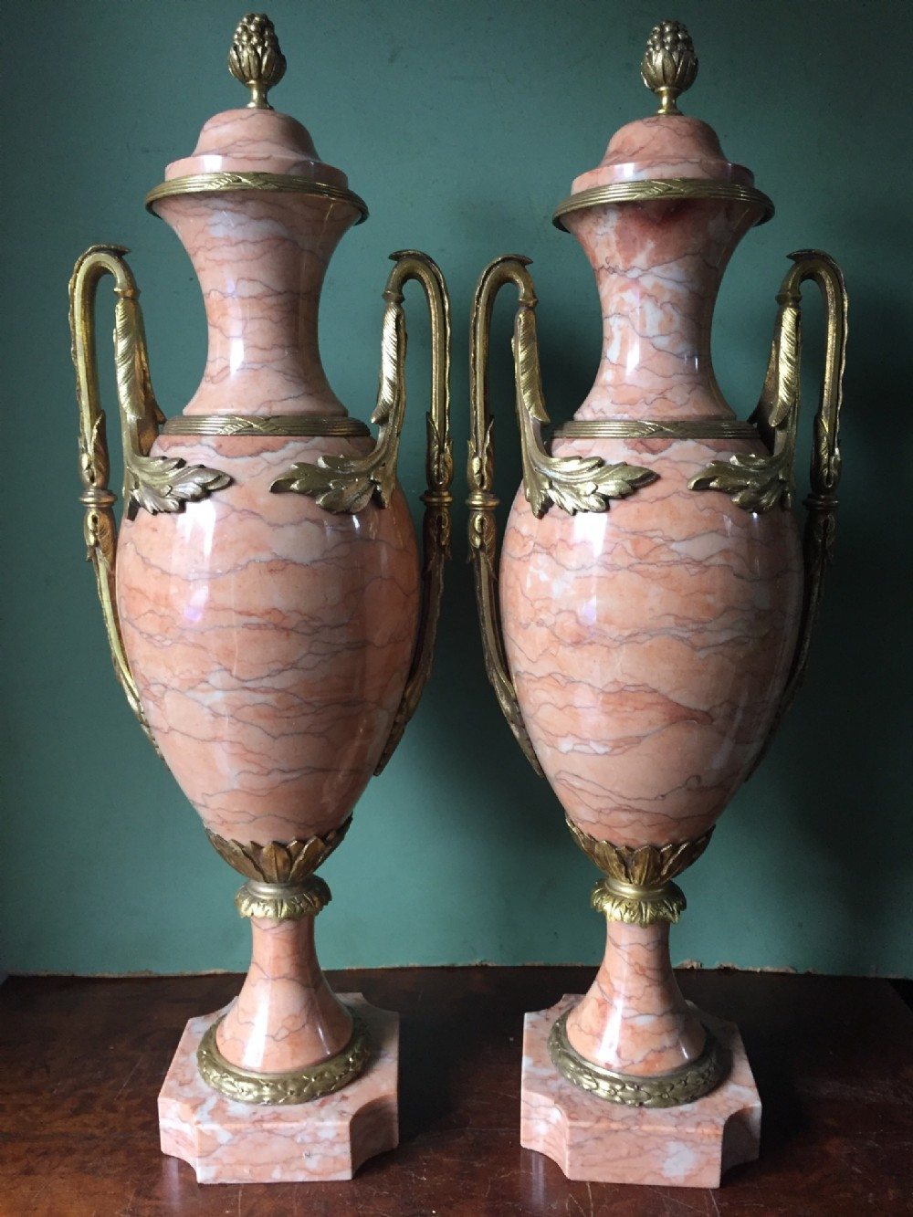 pair of late c19thearly c20th french ormolumounted marble vases of louis xvi design