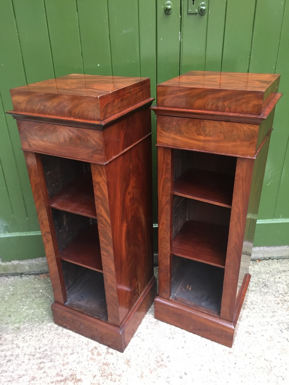 smart pair of early c19th french mahogany pedestal bookcases or side cabinets