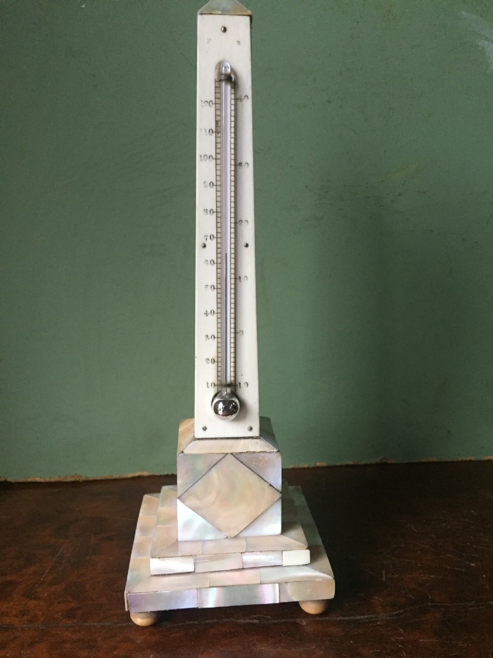 c19th 'mother of pearl' or nacreshell veneered desktop obelisk thermometer