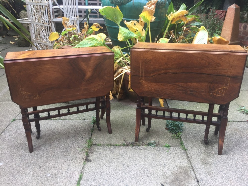 matched 'pair' of late c19th victorian period miniature inlaid rosewood dropleaf sutherland tables
