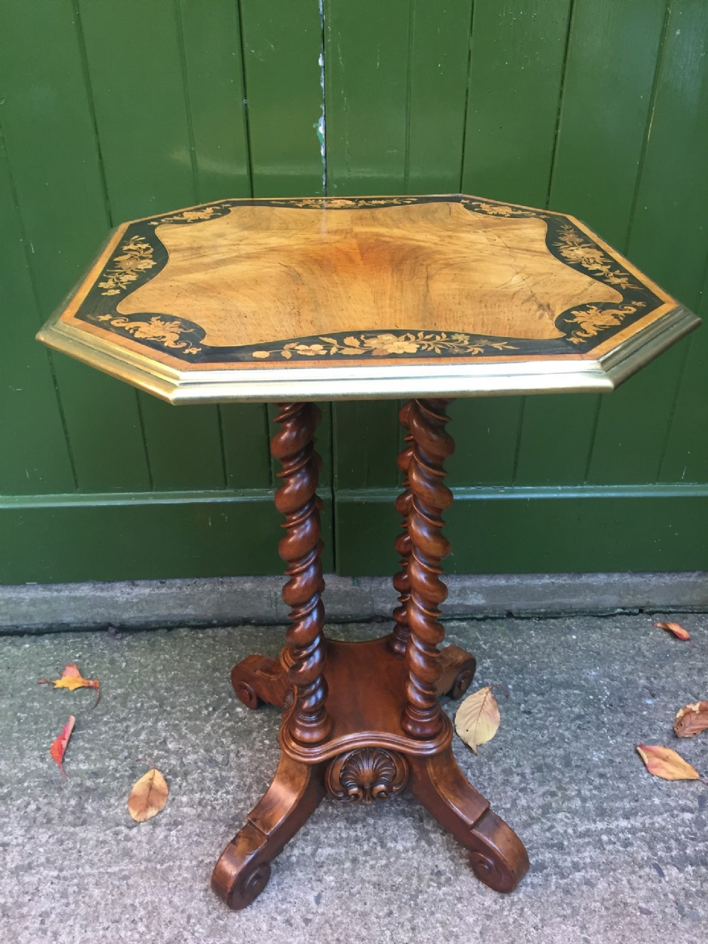 mid c19th walnut and marquetry inlaid occasional or lamp table