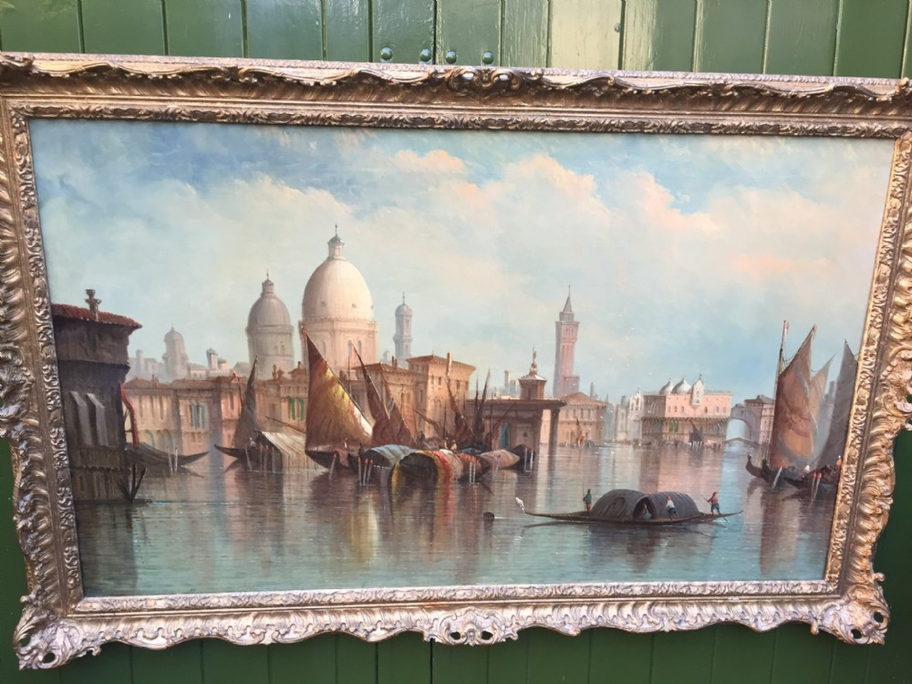 c19th oil painting on canvas by st john mulholland venice in carved and pierced giltwood frame