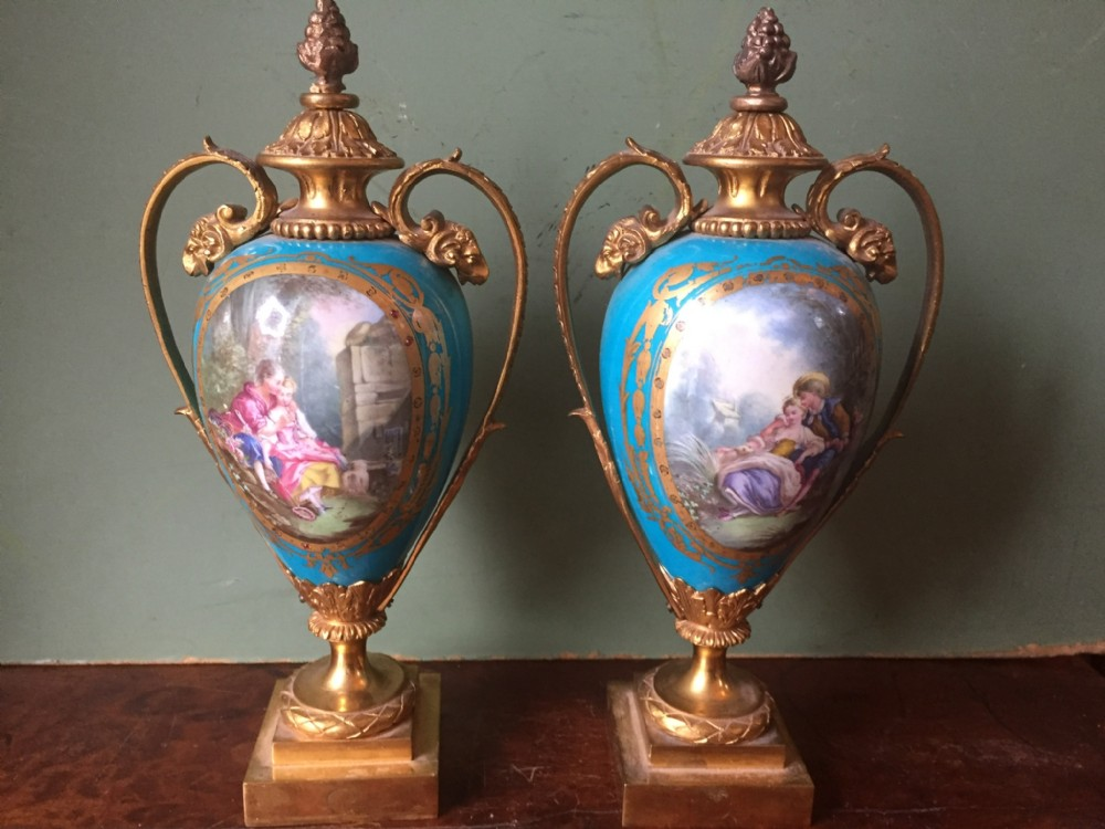 pair of late c19th french 'sevres' style porcelain vases with ormolu bronze mounts