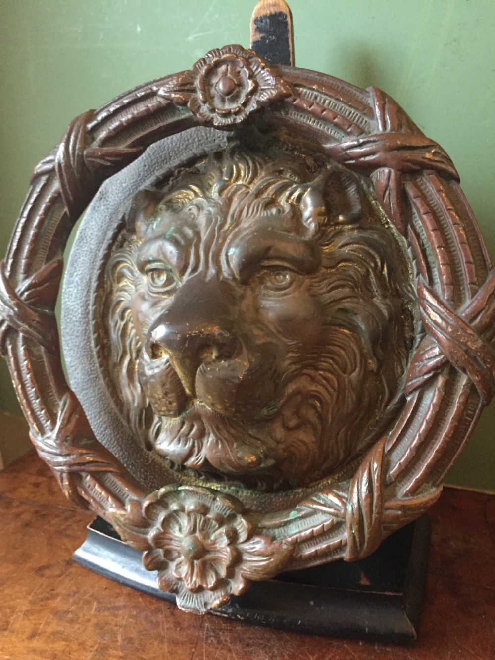 large early c20th bronze lion's mask door knocker