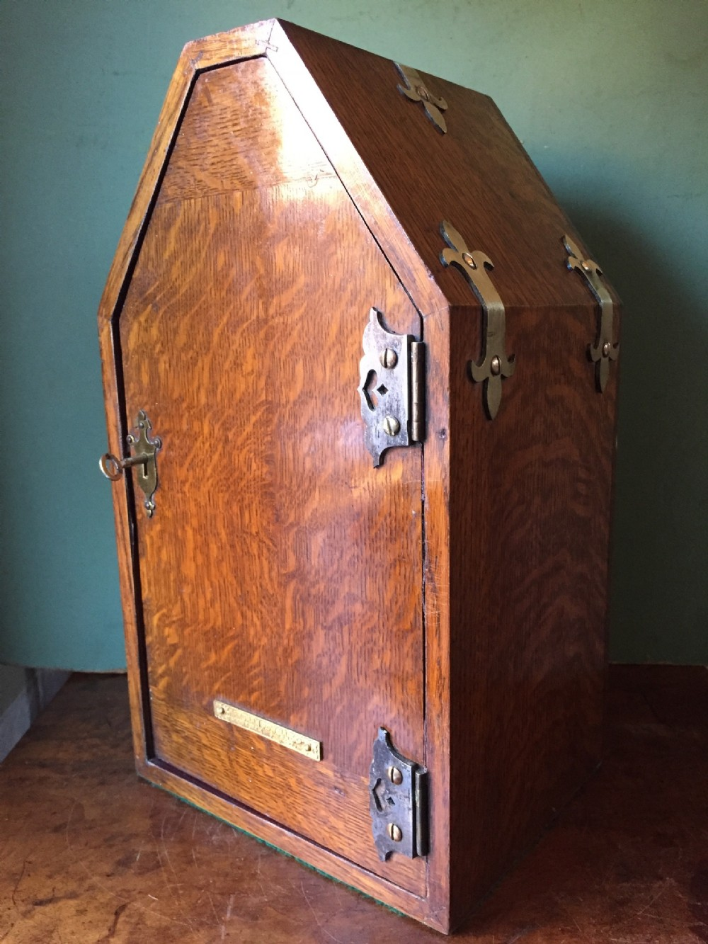 late c19th gothic design 'countryhouse' type oak posting or letterbox by hardman powelland company