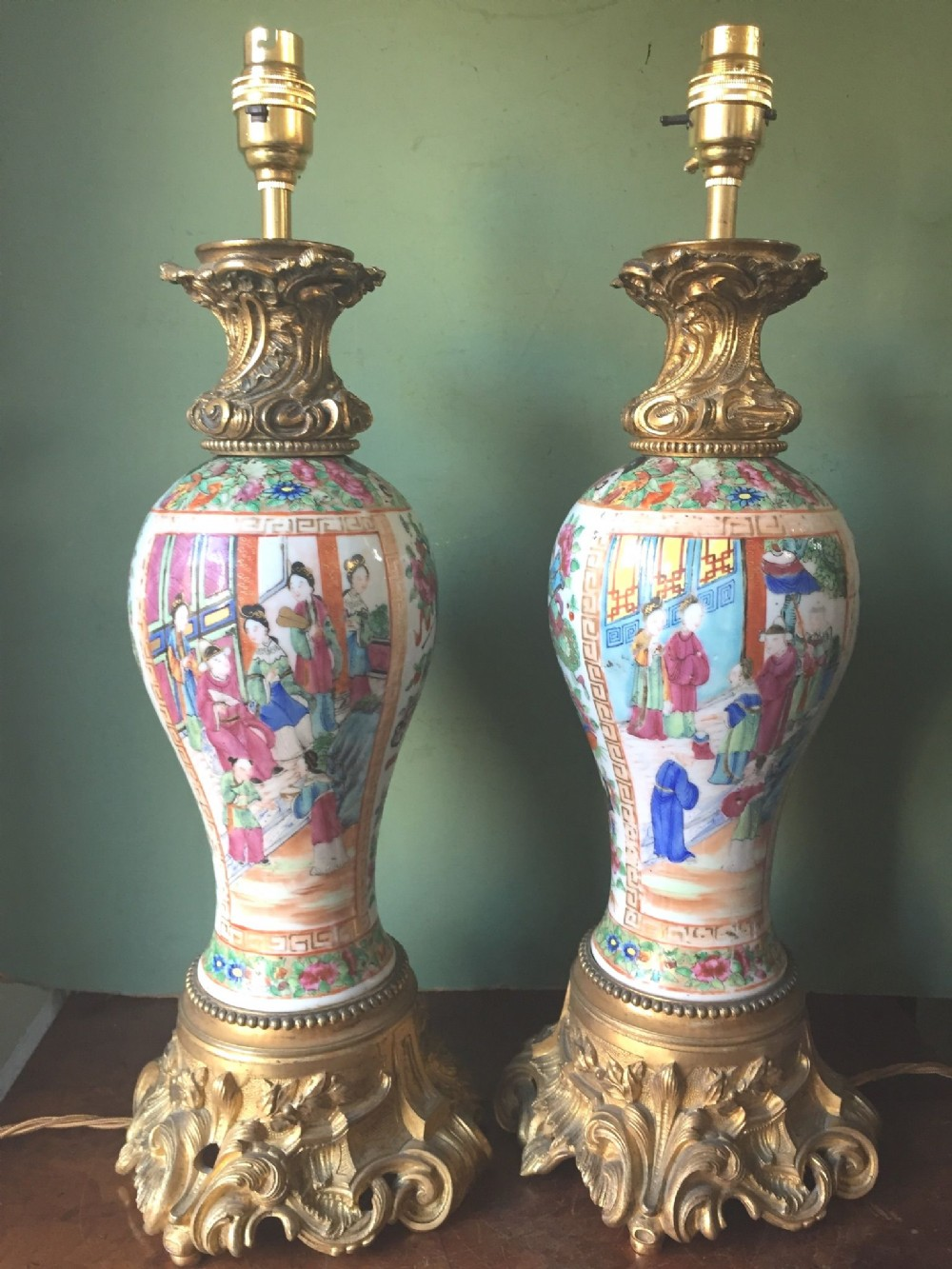 pair of mid c19th chinese ormolumounted cantonese porcelain lamps