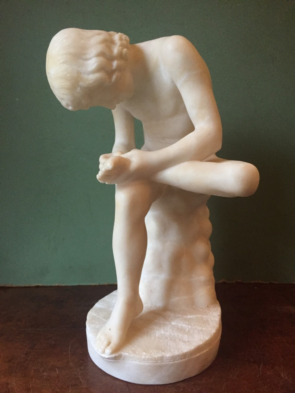 late c19th italian carved alabaster reduction 'grand tour' souvenir after the antique of spinario or 'the thornpuller' signed by pietro bazzanti florence